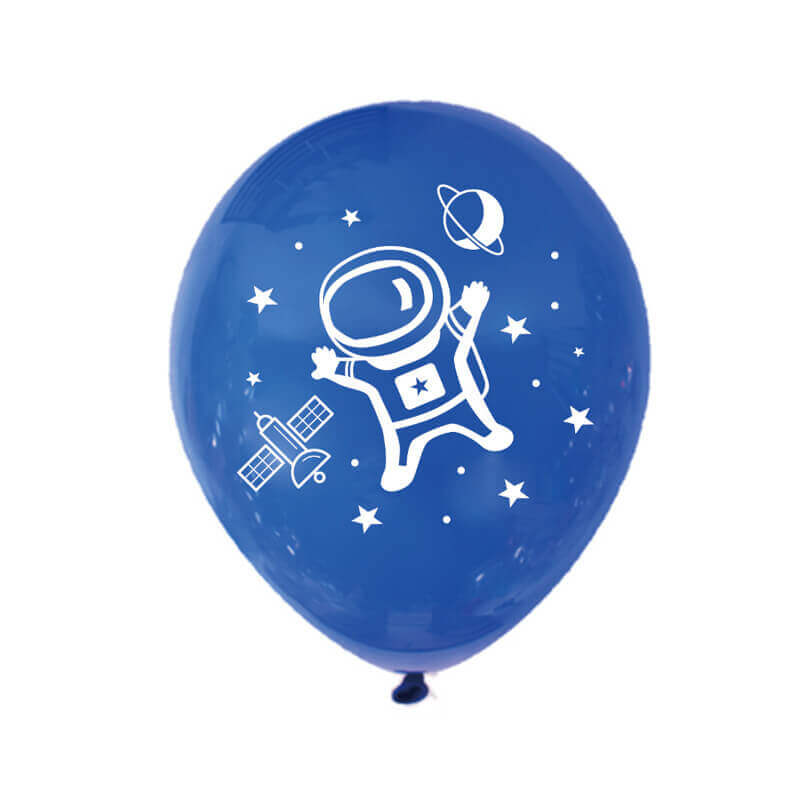 "12"" Online Party Supplies Black Blue Astronaut Latex Balloon Bundle (Pack of 10)"
