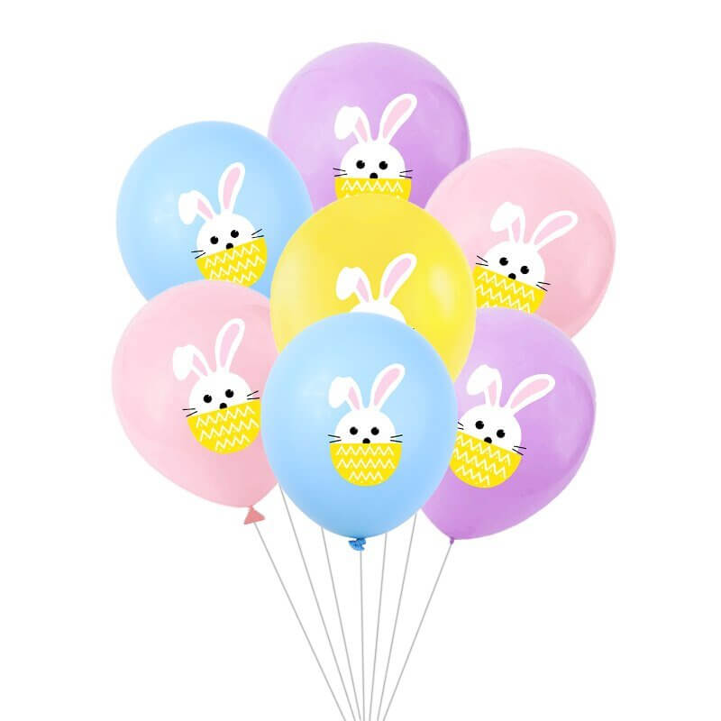 12 Inch Little Easter Bunny Rabbit Mixed Colour Latex Balloon Pack of 10