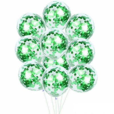 "12"" Online Party Supplies Green Foil Confetti Latex Party Balloon Bouquet - 10 Pieces"