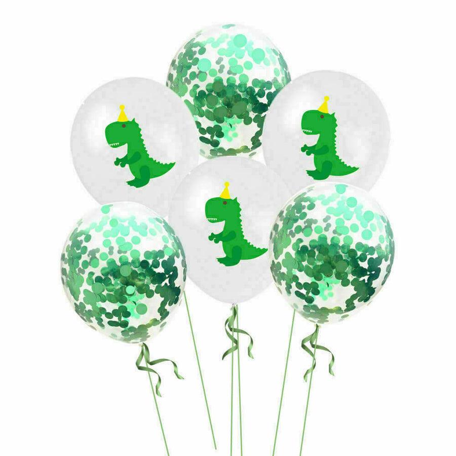 "12"" Green Baby T-rex Dinosaur Confetti Balloon Pack (10 Pieces) - Dino Themed Party Decorations"
