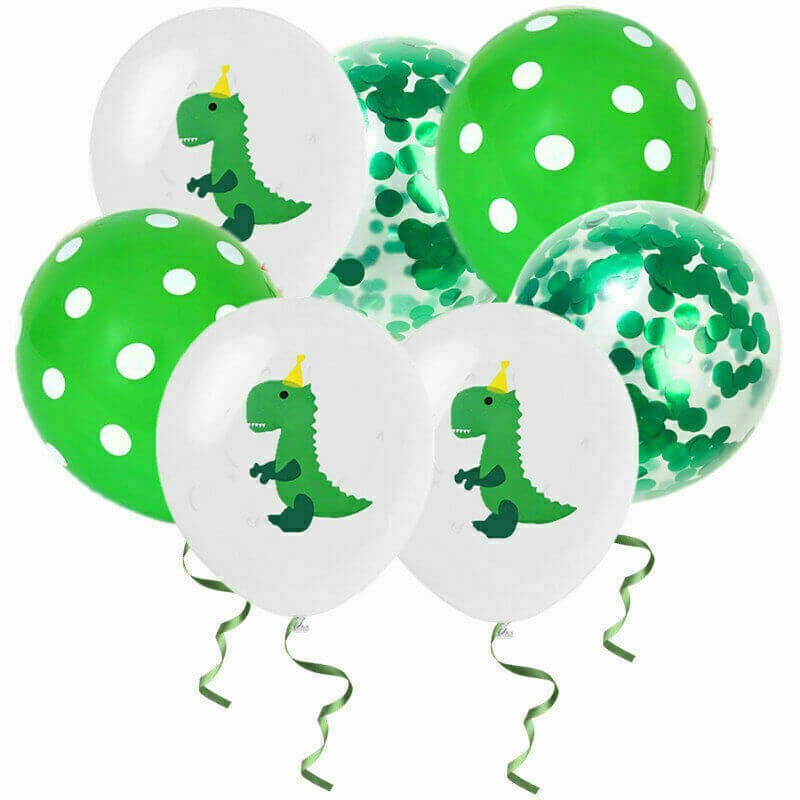 "12"" Green Baby T-Rex Dinosaur Confetti Polka Dot Balloon Pack (10 Pieces) - Dino Themed Party Decorations"