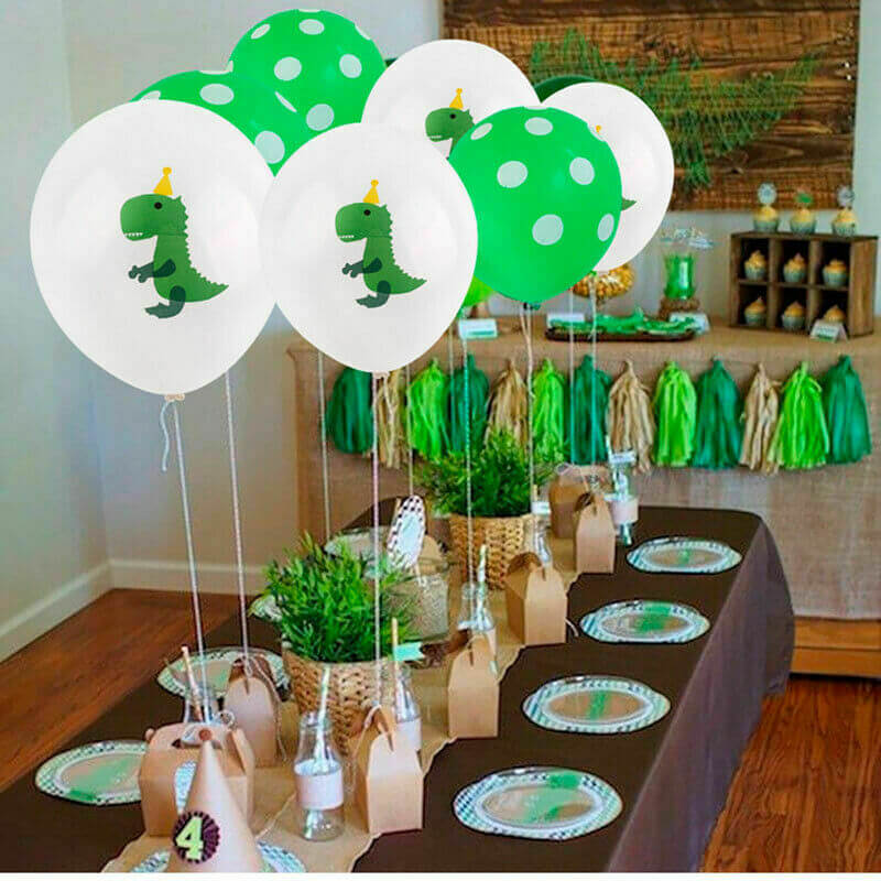 "12"" Green Baby T-Rex Dinosaur Polka Dot Balloon Pack (10 Pieces) - Dino Themed Party Decorations"