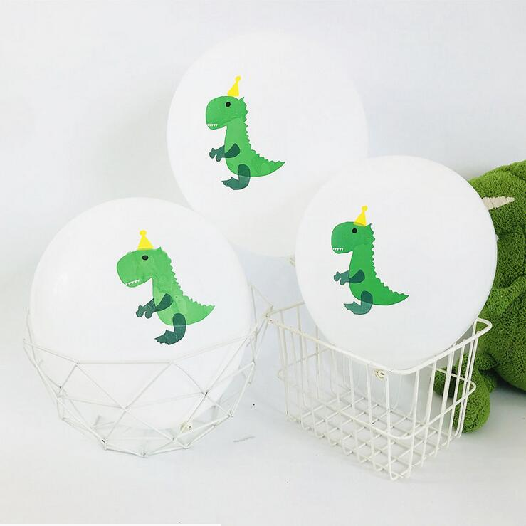 "12"" Green Baby T-rex Dinosaur Latex Balloon Pack - 10 Pieces"