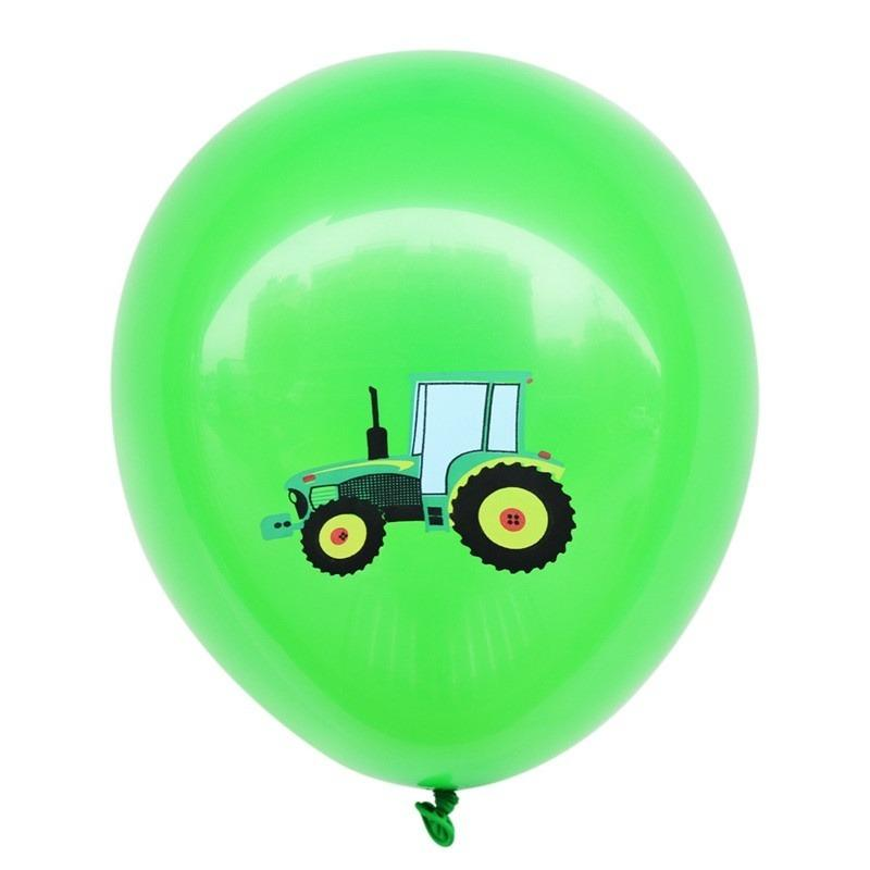 12inch Farm Tractor Printed Green Latex Balloon Pack of 10 Balloons