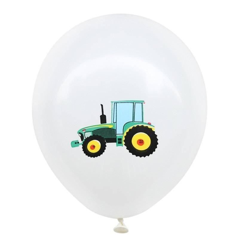 "12"" Farm Tractor Latex Balloon Pack of 10 - White"