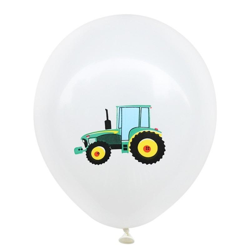 12inch Farm Tractor Printed White Latex Balloon Pack of 10 Balloons