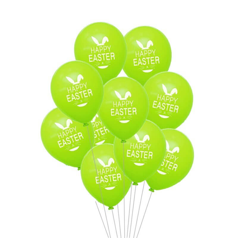12 Inch Happy Easter Printed Green Latex Balloon Pack of 10 - Easter Themed Party Supplies, Accessories, and Decorations