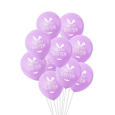 12 Inch Happy Easter Printed Lilac Light Purple Latex Balloon Pack of 10 - Easter Themed Party Supplies, Accessories, and Decorations