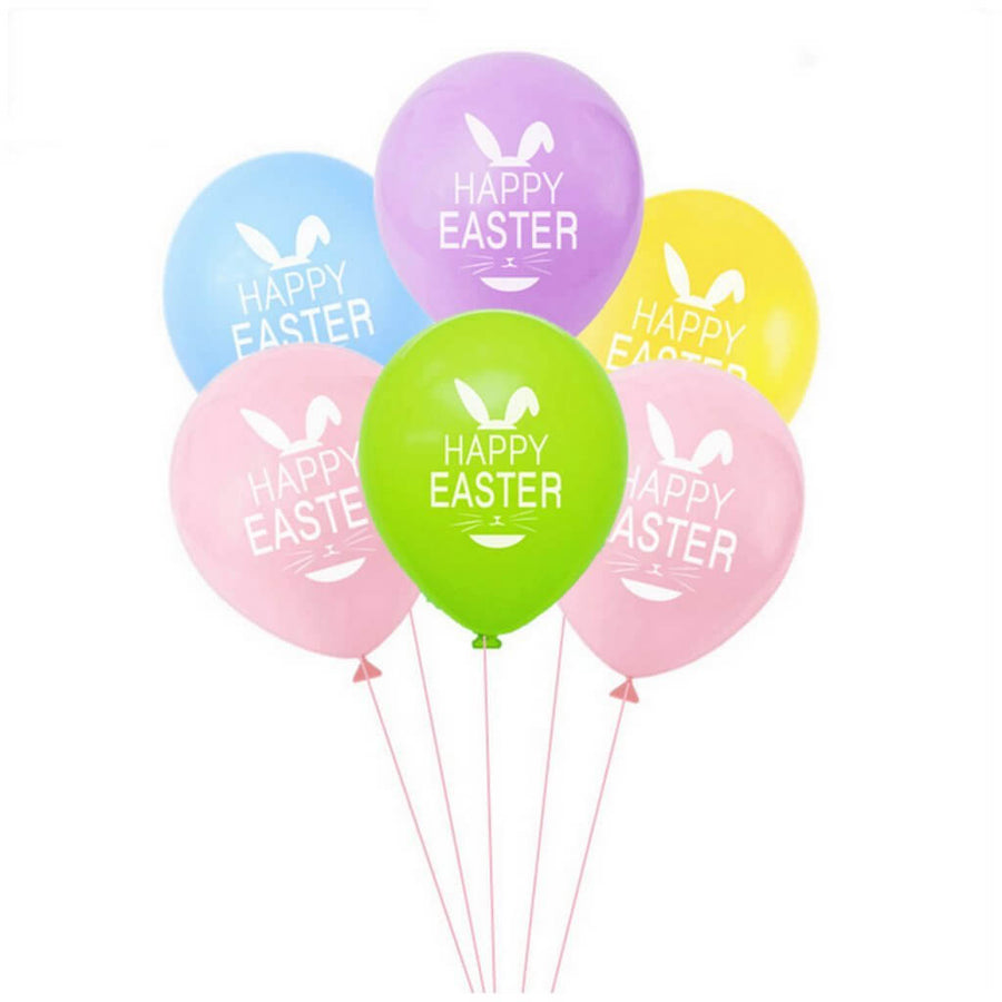 "12"" Happy Easter Latex Balloon Pack of 10 - Mixed Colours"