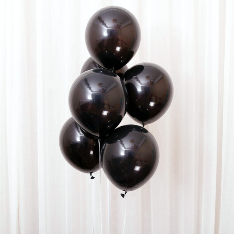 "12"" Black Latex Balloon Bouquet - 10 Pieces"