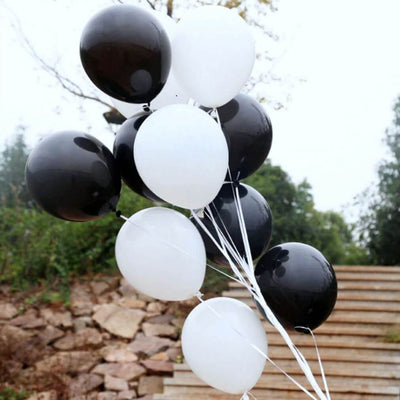 12inch Black and White Latex Balloon Bouquet  (Pack of 10) - Black & White Themed Party Decorations