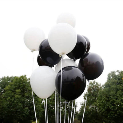 12inch Pearl Black and White Latex Balloon Bouquet  (Pack of 10) - Black & White Themed Party Decorations