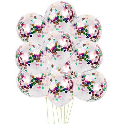 "12"" Online Party Supplies rainbow multicoloured Foil Confetti Latex Party Balloon Bouquet - 10 Pieces"