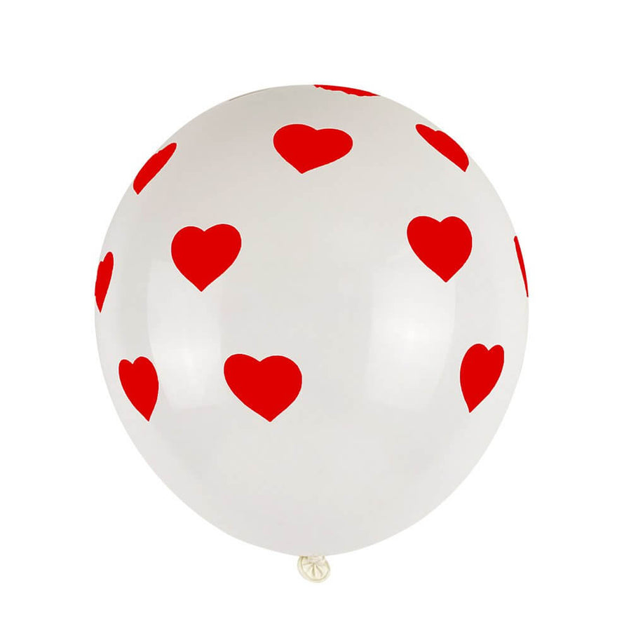 "12"" Red Heart Polka Dot White Latex Balloon Bouquet (Pack of 10)"