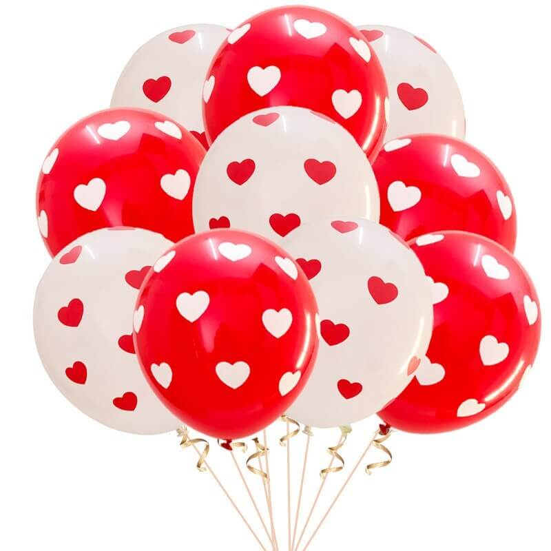 "12"" White & Red Heart Polka Dot Latex Balloon Bouquet (Pack of 10)"