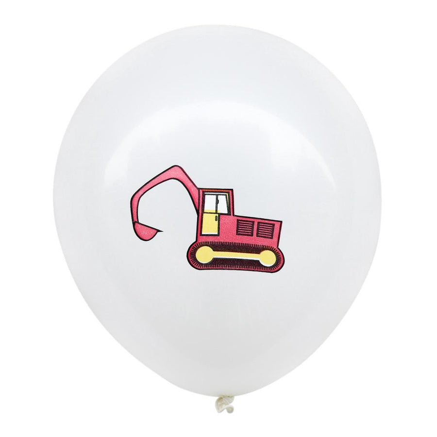 12inch Red Excavator Digger Truck Printed White Latex Balloon Pack of 10 Balloons - Engineering Construction Vehicle Themed Birthday Party Decorations