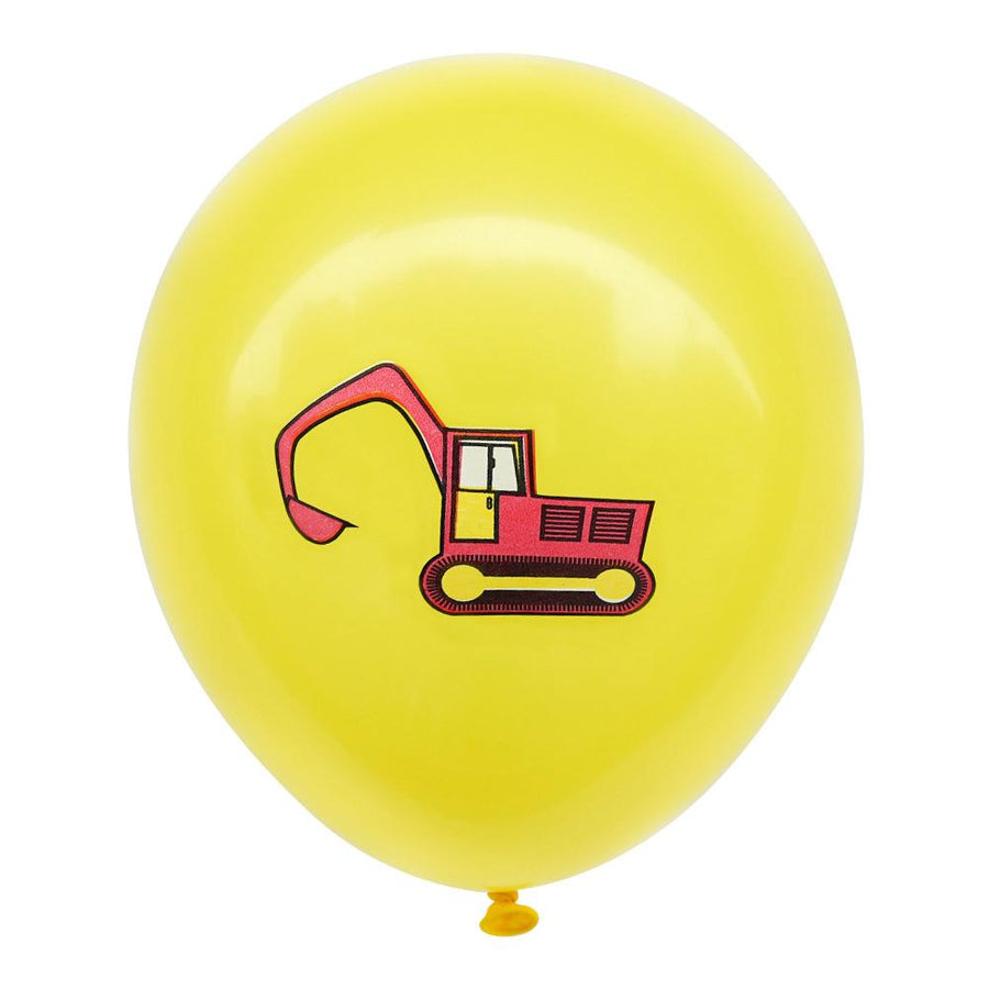 12inch Red Excavator Digger Truck Printed Yellow Latex Balloon Pack of 10 Balloons