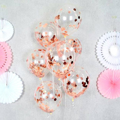 "12"" Rose Gold Foil Confetti Latex Wedding Balloon Bouquet - 10 Pieces"