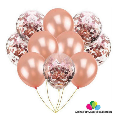 10 pcs Online Party Supplies 12 Inch Rose Gold Latex Gold Confetti Wedding Party Balloon Bouquet