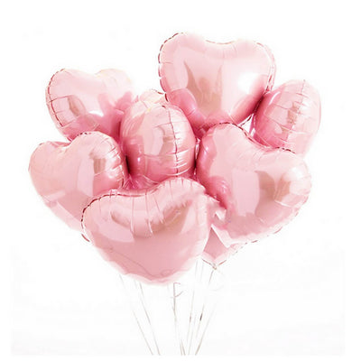 "Online Party Supplies 18"" Baby Pink Heart Shaped Foil Balloon Bouquet (Pack of 10)"