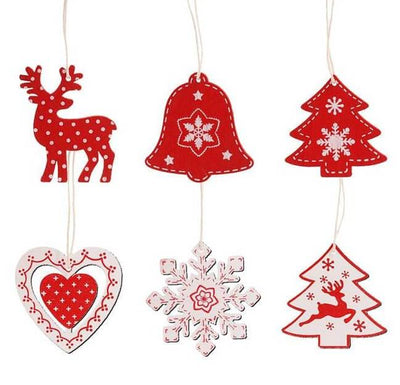 Online Party Supplies Wooden Christmas Tree Hanging Ornaments (Pack of 10)