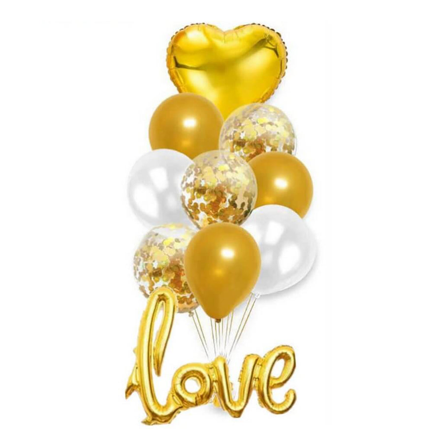 White and Gold Heart Love Script Balloon Bundle (Pack of 10) - Wedding, Bridal Shower, Hen Party Decorations