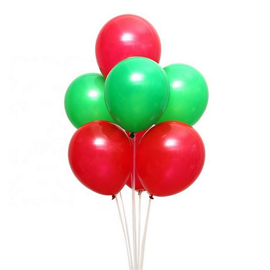 Pack of 10 counts 12 Inch Red & Green Latex Balloon Bouquet - Christmas Party Decorations