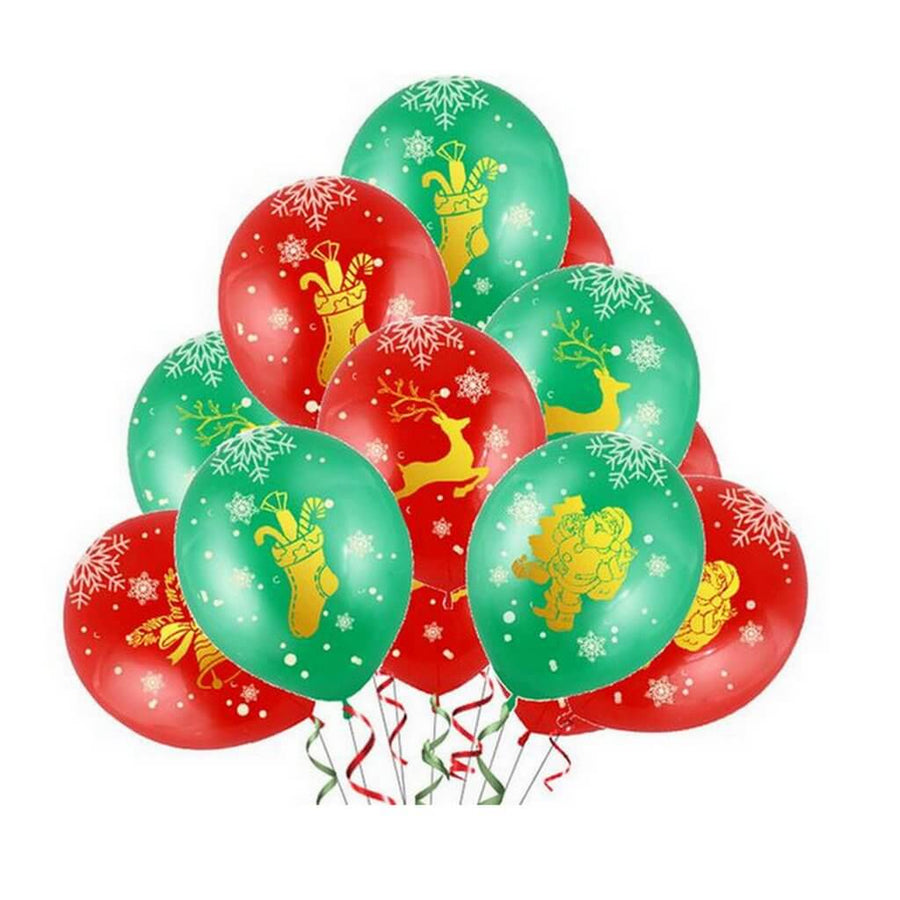 "12"" Red & Green Reindeer Stockings Printed Latex Balloon Bouquet (10 pieces) - Christmas Party Decorations"
