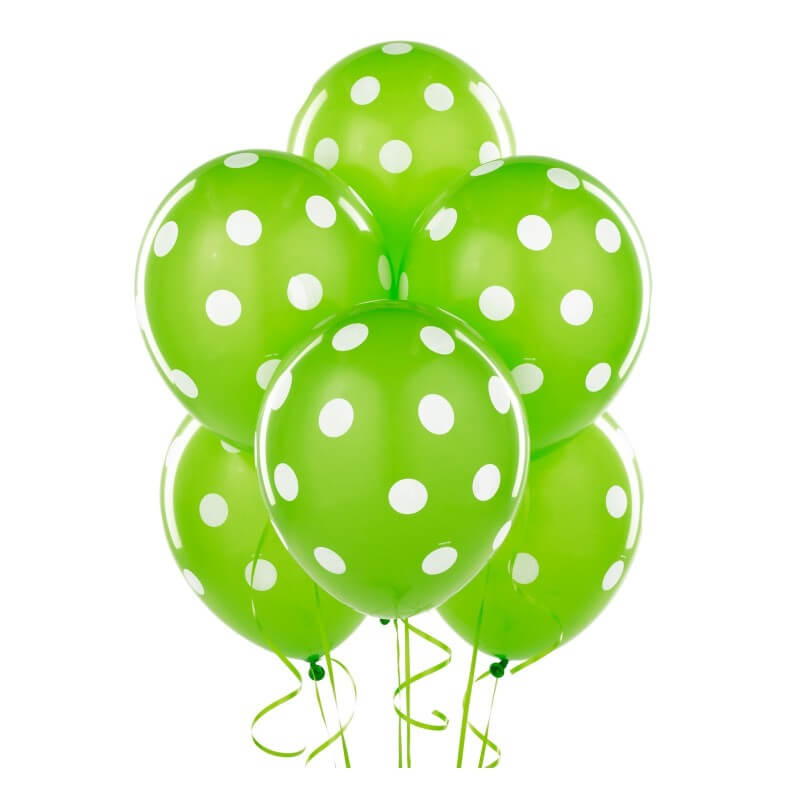 "12"" Lime Green Polka Dot Latex Balloon Bouquet (Pack of 10)"