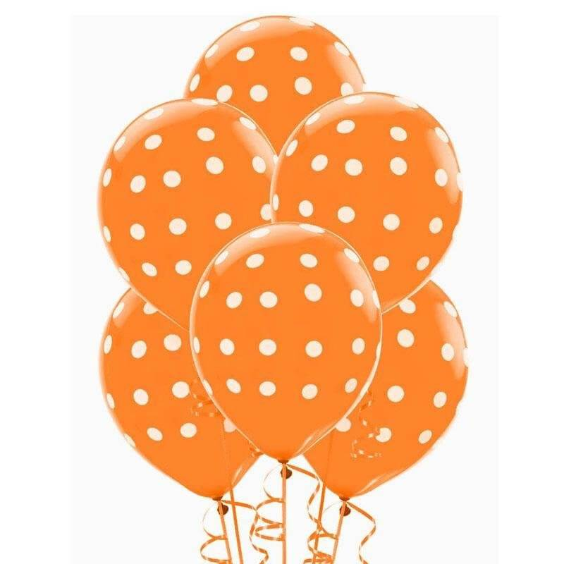 "12"" Orange Polka Dot Latex Balloon Bouquet (Pack of 10)"