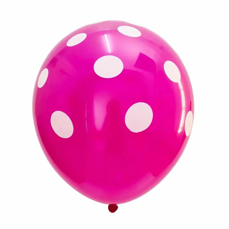 "12"" Online Party Supplies white & pink Polka Dot Latex Balloon Bouquet (Pack of 20)"