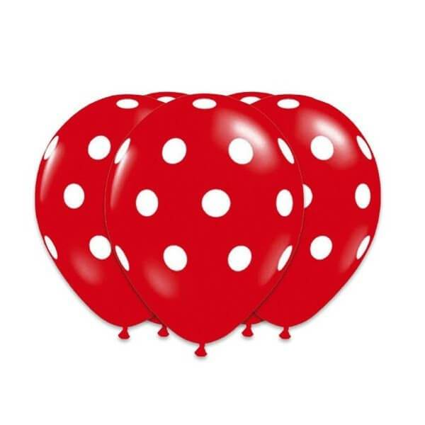 "12"" Red Polka Dot Latex Balloon Bouquet (Pack of 10)"
