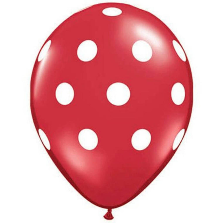 "12"" Online Party Supplies Red & Black Polka Dot Latex Balloon Bouquet (Pack of 10)"