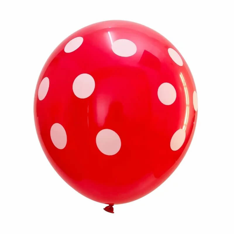 "12"" Online Party Supplies Red & Black Polka Dot Latex Balloon Bouquet (Pack of 12)"