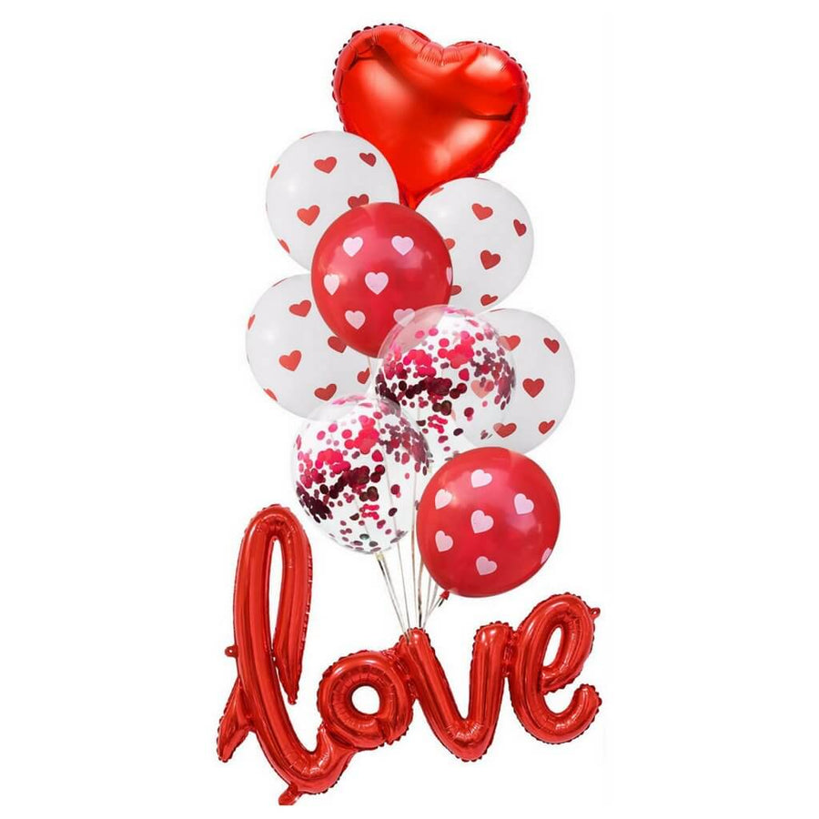 Red Heart Love Script Confetti Balloon Bundle (Pack of 10)