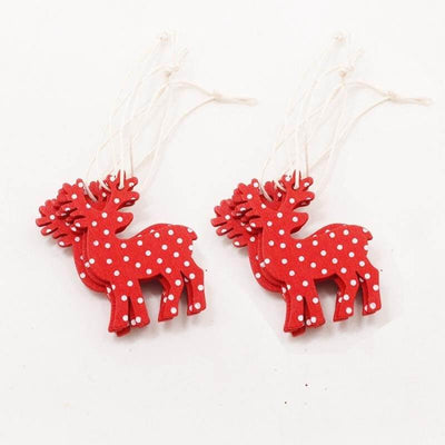 Online Party Supplies Wooden Christmas Tree Hanging Ornaments (Pack of 10) Red Reindeer