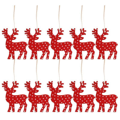 Online Party Supplies Wooden Christmas Tree Hanging Ornaments (Pack of 10) red reindeers