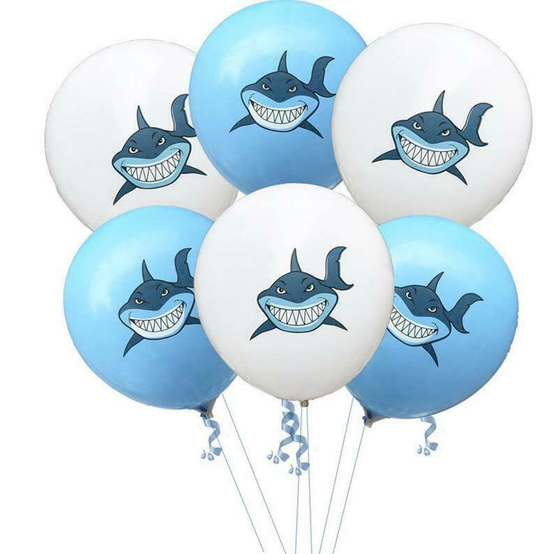 "12"" Shark Print Blue & white Latex Balloon 10 Pack - Under The Sea, Marine Animal, Baby Shark Party Themed Party Decorations"