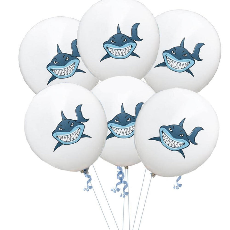 "12"" Shark Print White Latex Balloon 10 Pack - Under The Sea, Marine Animal, Baby Shark Party Themed Party Decorations"