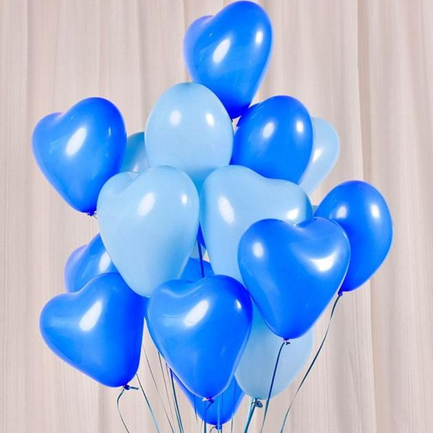 12 Inch Helium Quality Baby Blue & Blue Love Heart Balloon Bouquet - Wedding Party Decorations