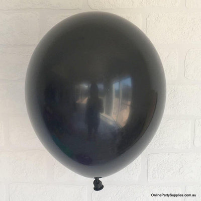 Online Party Supplies 12 inch 3.2g thickened black colour latex balloon pack of 10
