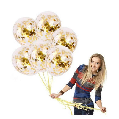 "12"" Online Party Supplies Gold Foil Confetti Latex Party Balloon Bouquet - 10 Pieces"