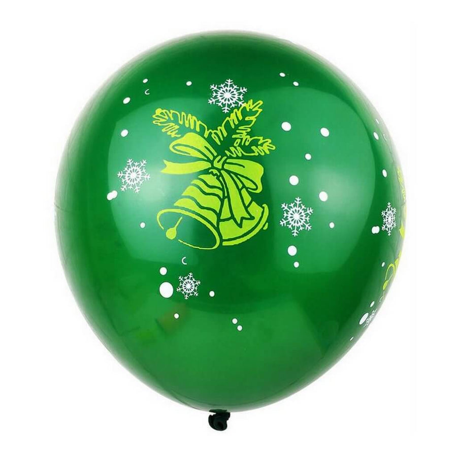 12 Inch Green Merry Christmas Bell Printed Latex Balloon 10 Pack - Xmas Party Supplies & Decorations