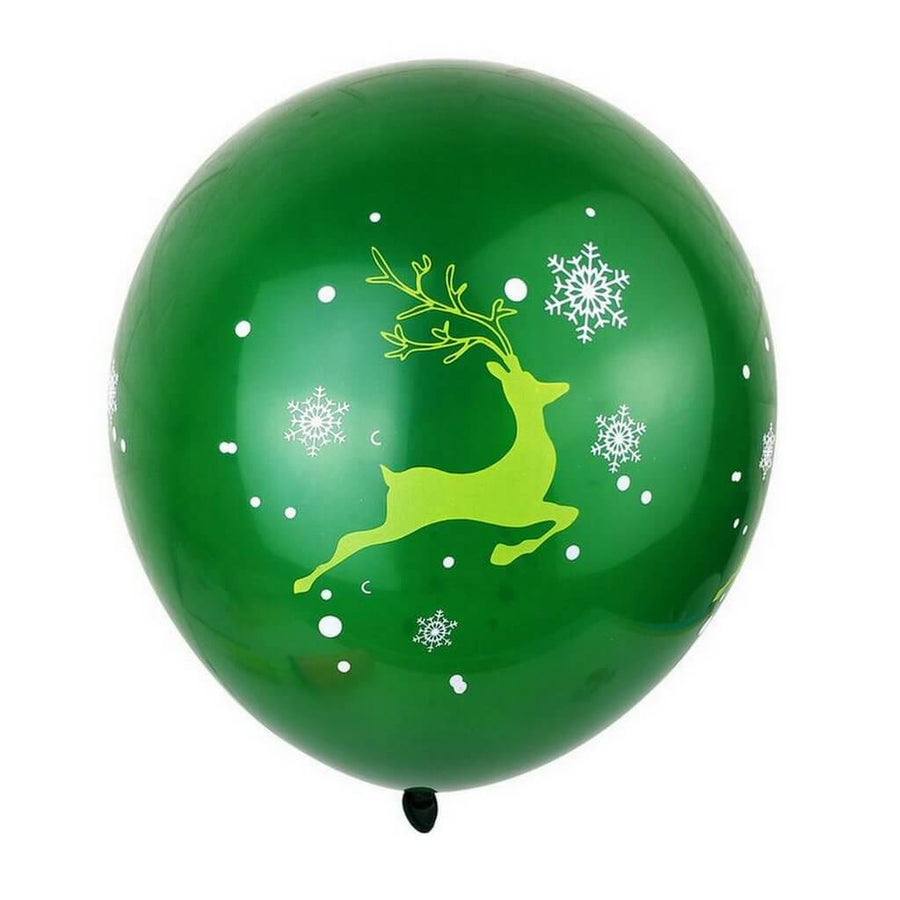 12 Inch Green Merry Christmas Reindeer Printed Latex Balloon 10 Pack - Xmas Party Supplies & Decorations