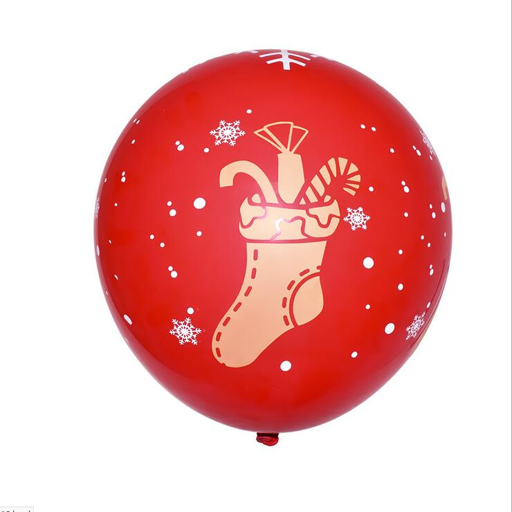 12 Inch Red Merry Christmas Candy Stockings Printed Latex Balloon 10 Pack - Xmas Party Supplies & Decorations