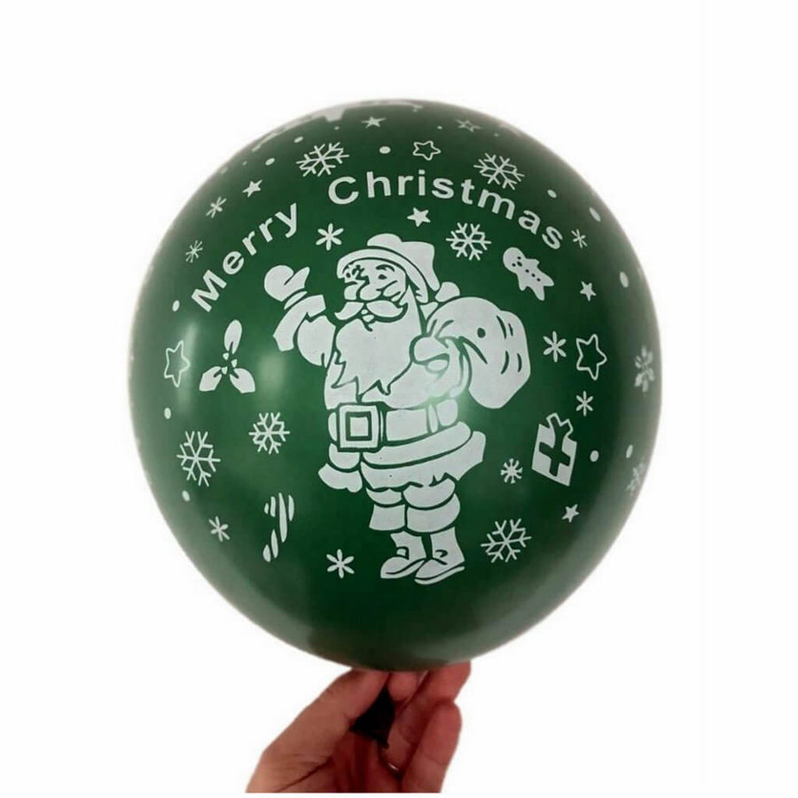 "12"" Green Merry Christmas Santa Claus Printed Latex Balloon 10 Pack"