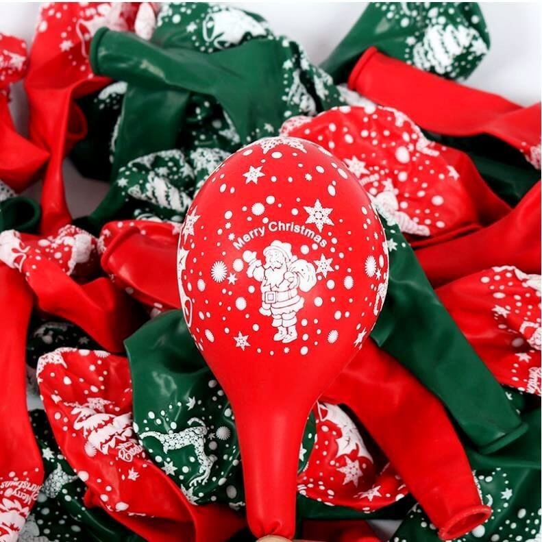 "12"" Red & Green Santa Claus Printed Latex Balloon Bouquet (10 pieces) - Christmas Party Decorations"
