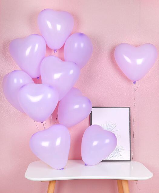 "12"" Heart Latex Balloon 10 Pack - Macaron Lilac Purple"