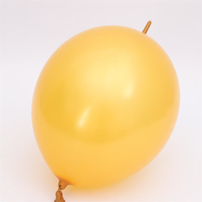 12 Inch 2.8g Thickened Helium Quality Linking Balloons - Metallic Gold