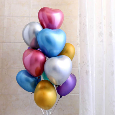"12"" Chrome Heart Latex Balloon 10 Pack - Mix Colours"